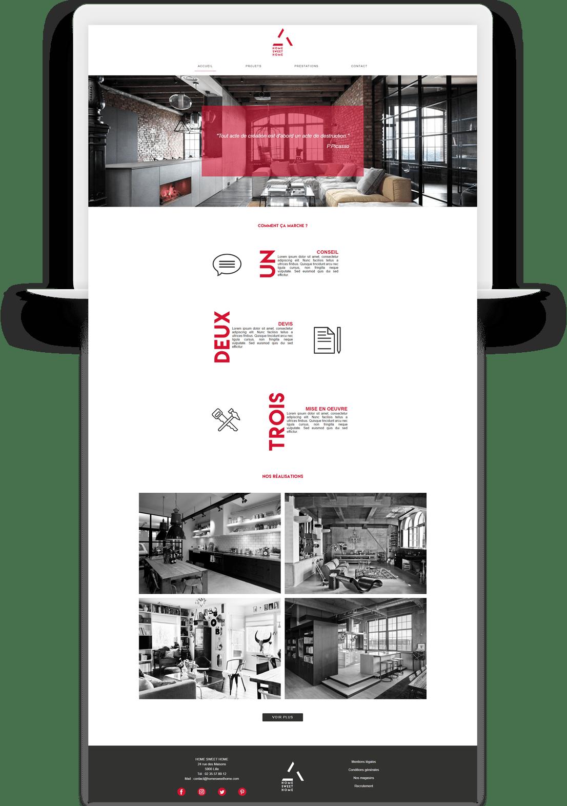 maquette site web décoration intérieure