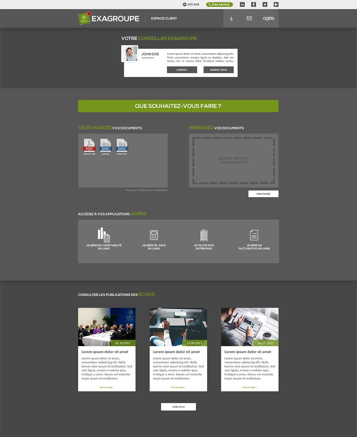maquette page espace client